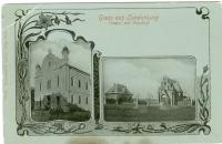 Dobová pohlednice s židovskými památkami Břeclavi